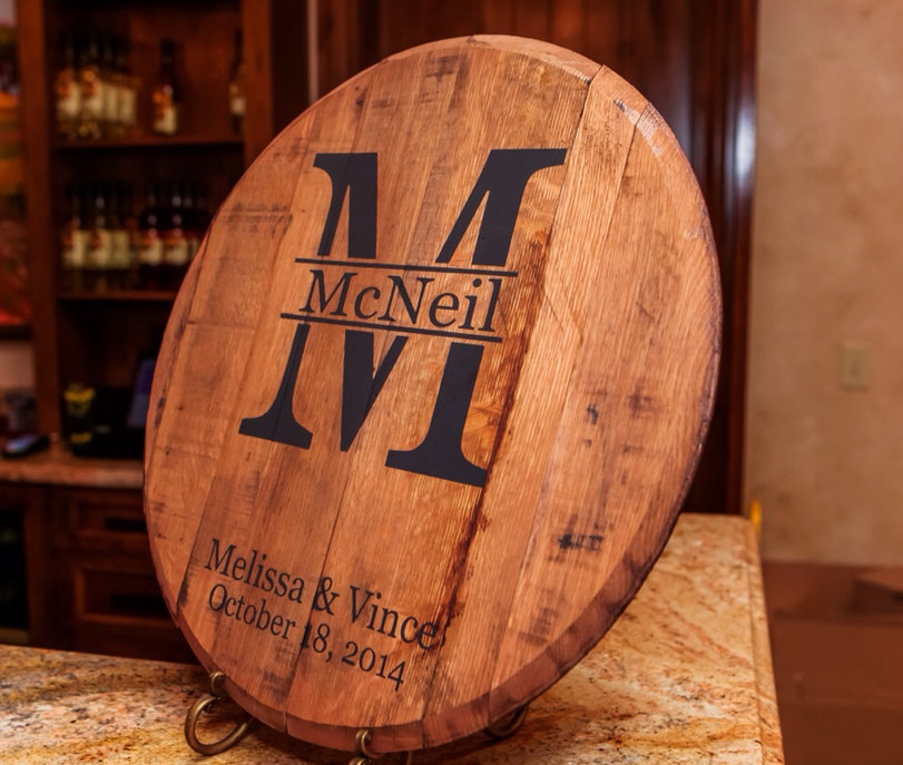 Bourbon Barrel Head Monogram And Last Name Personalized Great