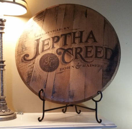 Custom Bourbon Whiskey Barrel Head Lid Laser Engraved Logo