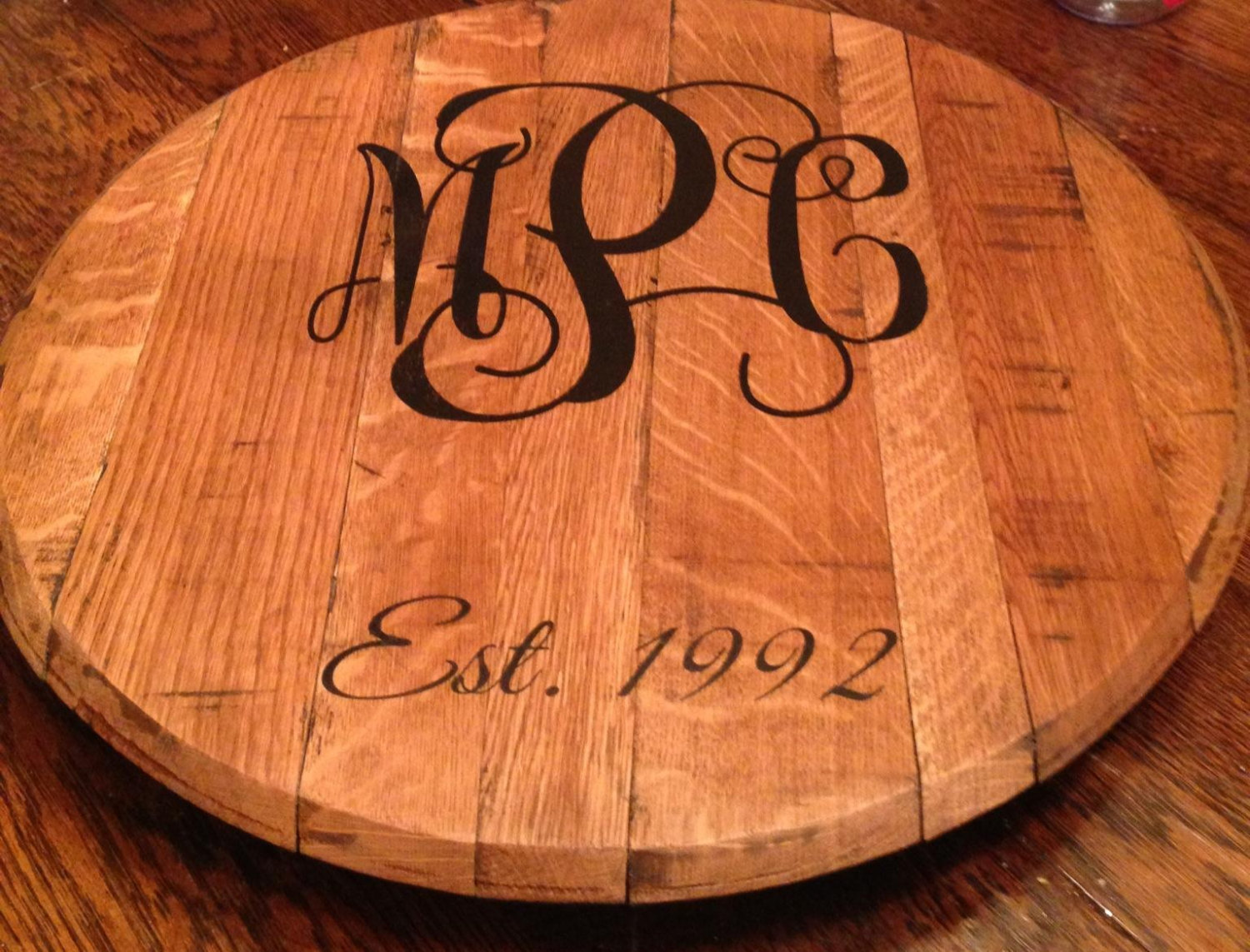 Personalized Bourbon Barrel Lazy Susan Great Wedding Gift