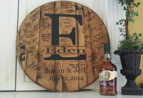 unique wedding gift personalized whiskey barrel head. Black Bedroom Furniture Sets. Home Design Ideas